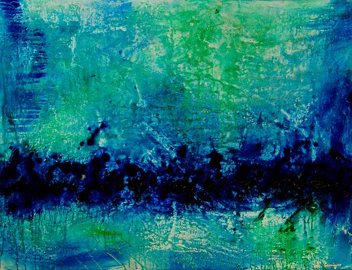 Yessy Abstract Art By Sharon Mings Gallery For Opal Essence Blue Green Painting