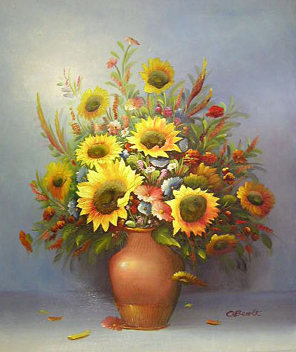 Yessy A Art Original Oil Paintings Sunflowers In Vase By C Benolt