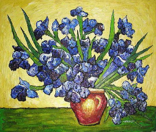 Yessy A Art Original Oil Paintings Irises In Vase Vangogh Oil