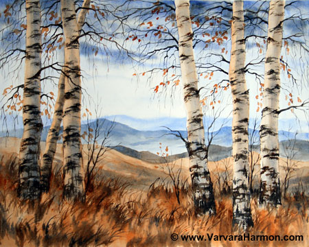 Yessy Gt Varvara Harmon Gt Landscape Watercolor Gt Birch