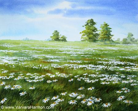 Yessy Gt Varvara Harmon Gt Landscape Watercolor Gt Daisies